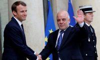 ماكرون يبدي اعجابة بانتصارات العراق ويقدم العبادي كقائد عالمي